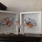 """Картины и панно ручной работы. Ярмарка Мастеров - ручная работа Вышивка крестом """"Любимые игрушки"""" парные. Handmade."""