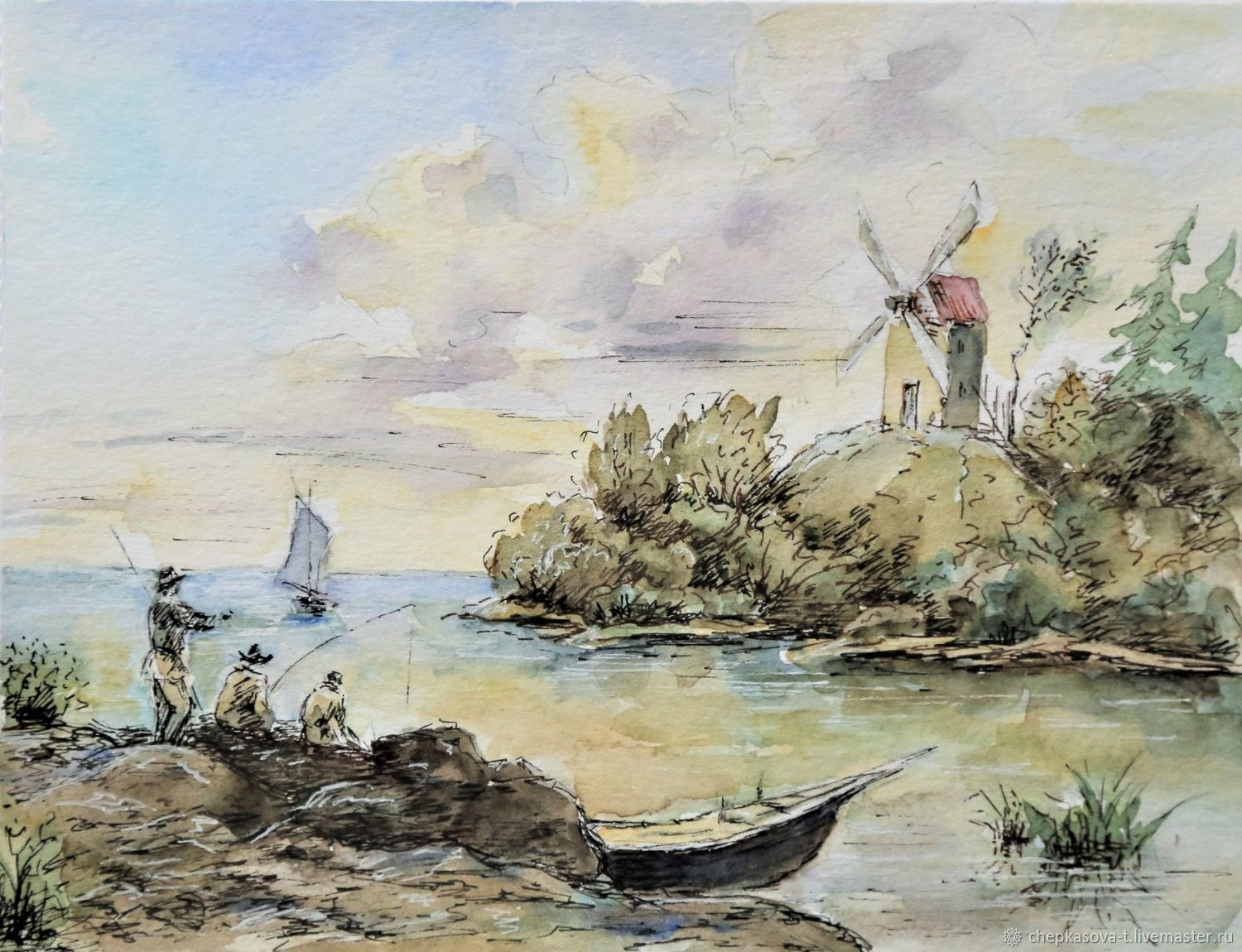 Watercolor Landscape with mill, Pictures, Moscow,  Фото №1