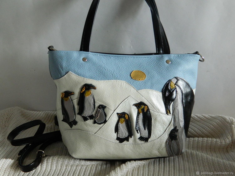 Bag leather womens bag with applique country penguins u2013 shop online