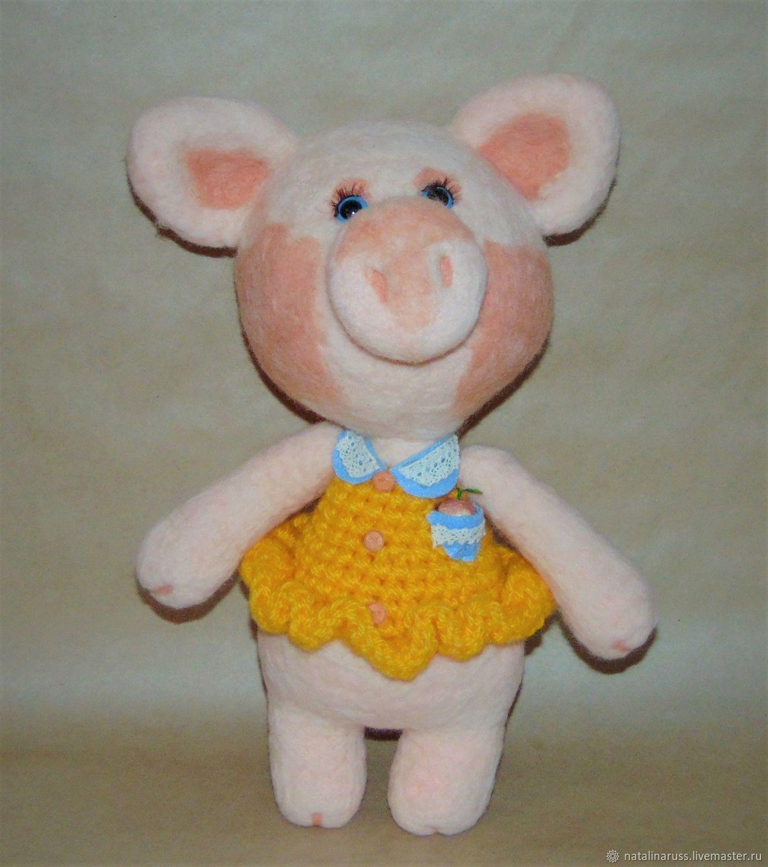Pig 34 cm soft toy made of felt, Stuffed Toys, Simferopol,  Фото №1