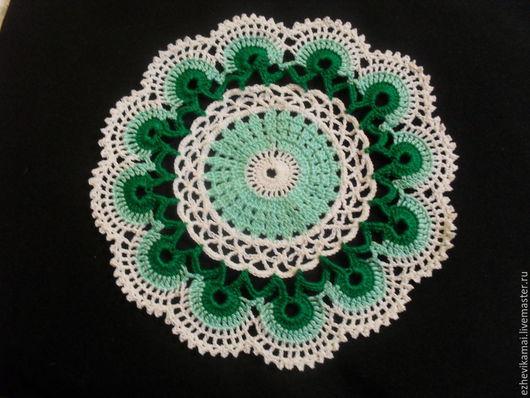 """Текстиль, ковры ручной работы. Ярмарка Мастеров - ручная работа. Купить Салфетка """"Игра цвета"""" бело-зелёная. Handmade. Зеленый"""