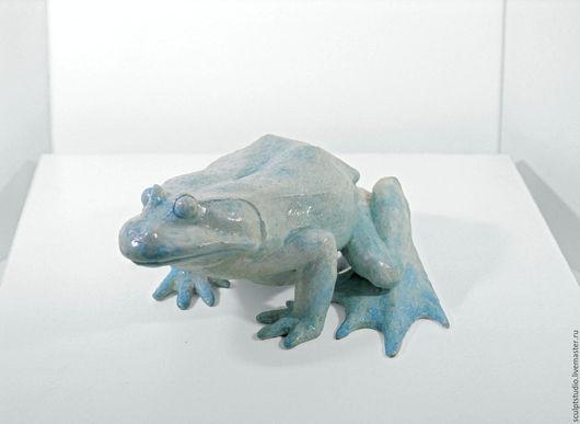 Статуэтки ручной работы. Ярмарка Мастеров - ручная работа. Купить Лягушка голубая. Handmade. Голубой, скульптура, интерьер, модель, акрил