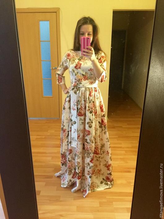 Платья ручной работы. Ярмарка Мастеров - ручная работа. Купить Платье в пол Золотистое на лето на осень с рукавом. Handmade. Разноцветный