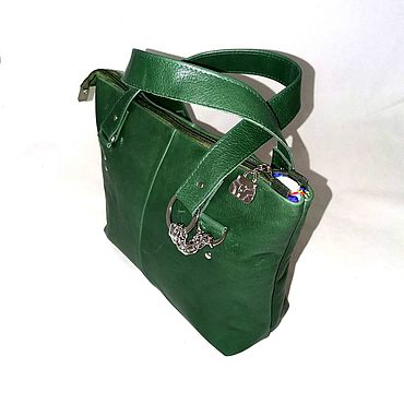 Bags and accessories handmade. Livemaster - original item Leather green bag