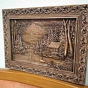 """Панно ручной работы. Ярмарка Мастеров - ручная работа Панно резное из дерева """"Домик у озера"""". Handmade."""