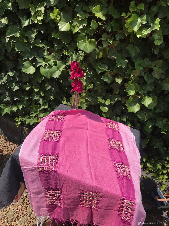 Shawl, scarf 'Pink Flamingo', linen, Holland, Vintage hats, Arnhem,  Фото №1