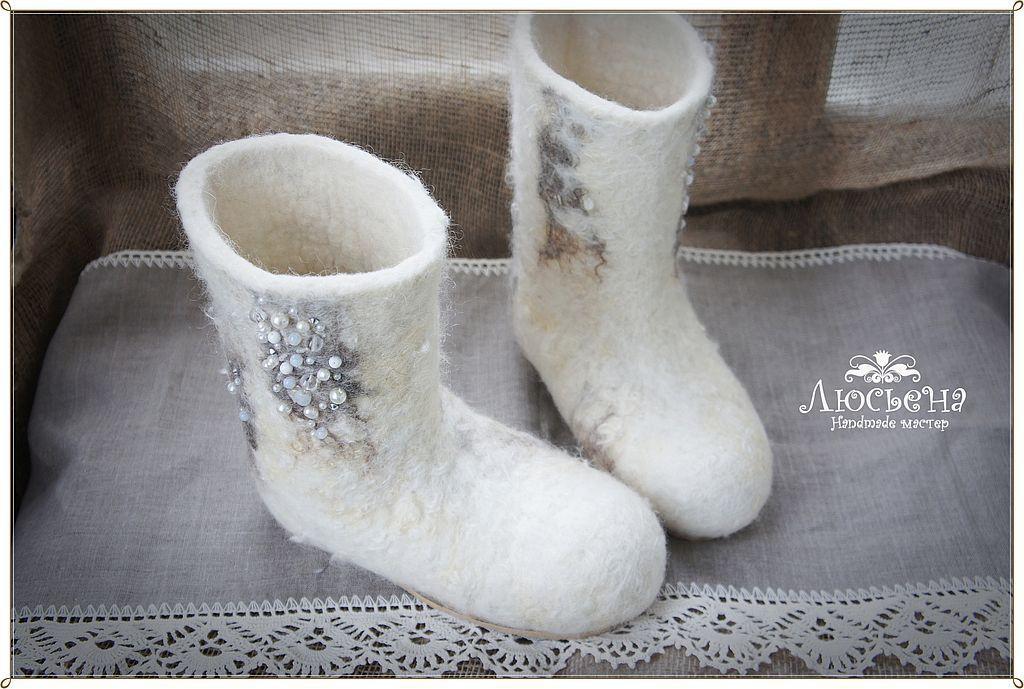 """Обувь ручной работы. Ярмарка Мастеров - ручная работа. Купить Валенки """" Кудрявая зима"""". Handmade. Белый, валенки на подошве"""