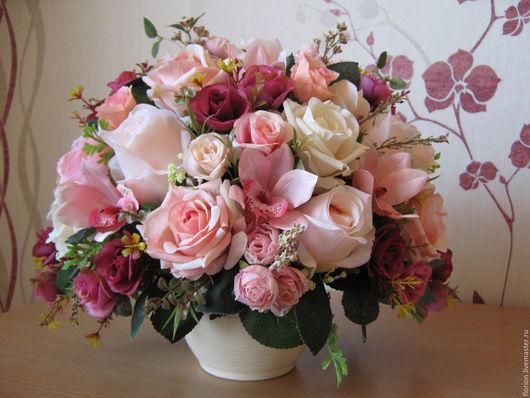 """Интерьерные композиции ручной работы. Ярмарка Мастеров - ручная работа. Купить """"Симфония"""". Handmade. Интерьерная композиция, розы, молочный оттенки"""