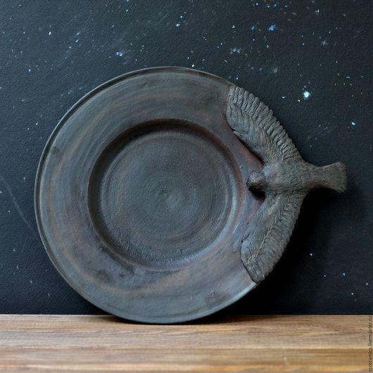 Тарелки ручной работы. Ярмарка Мастеров - ручная работа. Купить Тарелка с совой. Handmade. Коричневый, посуда ручной работы, птичка
