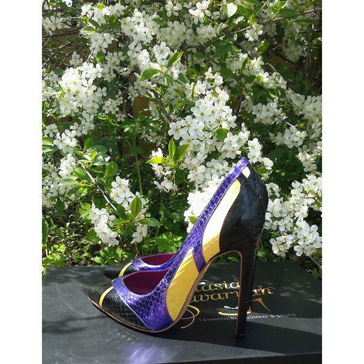 Обувь ручной работы. Ярмарка Мастеров - ручная работа. Купить Туфли из натуральной кожи питона ''Бабочка''. Handmade. Комбинированный