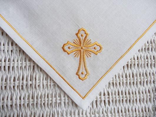 Пасхальная салфетка с вышивкой `Православный крест` `Шпулькин дом` мастерская вышивки