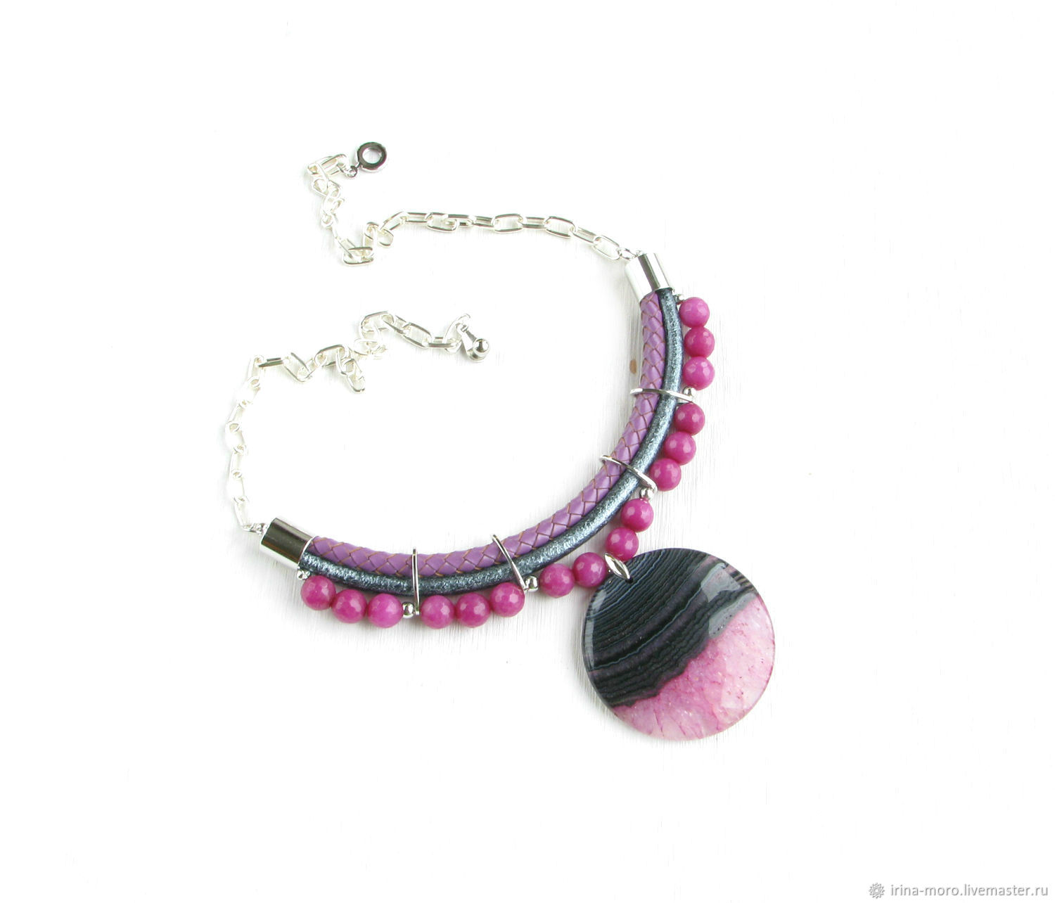 Pink necklace 'Lollipops' leather necklace, silver on a chain, Necklace, Moscow,  Фото №1