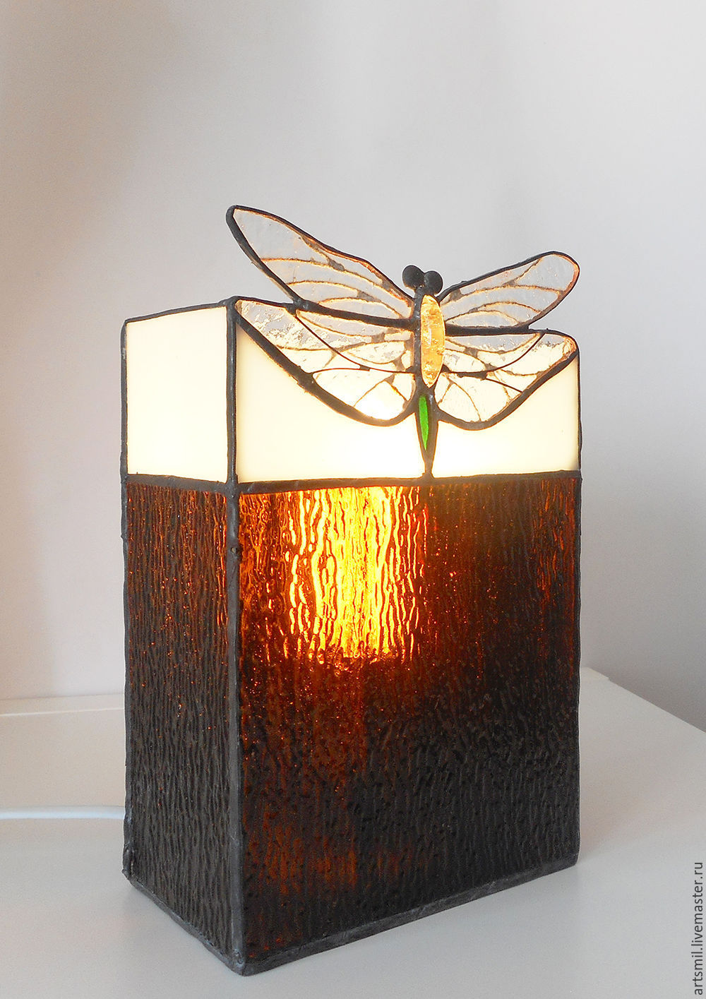 Dragonfly. Tiffany table lamp. Stained glass lamp. Handmade lamp, Table lamps, Moscow,  Фото №1