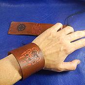 Украшения handmade. Livemaster - original item Leather wide bracelet Charms. Handmade.