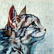 Картины и панно handmade. Livemaster - original item Painting Cat cat on a textured background in oil. Handmade.