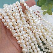 Материалы для творчества handmade. Livemaster - original item Thread 17 cm Natural pearls. free forms 6h6-8. 5662 mm (). Handmade.