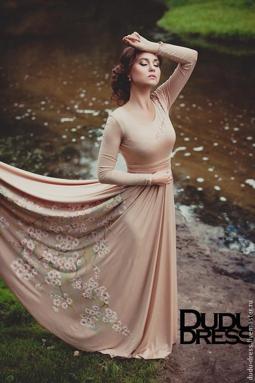 Платья ручной работы. Ярмарка Мастеров - ручная работа. Купить Платье в пол с росписью. Handmade. Бежевый, цветочное платье, длинное