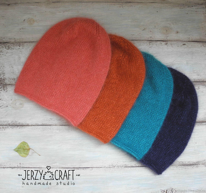 Шапка вязаная спицами бини шапка вязанная шапка весенняя шапка осенняя шапочка пух суперкидмохер шелк шапочка вязаная спицами шапочка вязанная шапочка легкая шапка мохер шелк шапка бини кидмохер