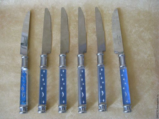 Набор винтажных ножей `Луна и звезды`- 6 шт. Европа, металл, пластик, 23 см, в идеале. Цена 1200 руб.