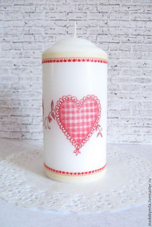 """Подарки для влюбленных ручной работы. Ярмарка Мастеров - ручная работа. Купить Свеча """"Сердца"""". Handmade. Комбинированный, сердце, контурная роспись"""
