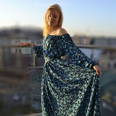 Одежда ручной работы. Ярмарка Мастеров - ручная работа Синее платье в пол. Handmade.