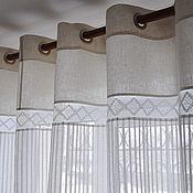 Для дома и интерьера handmade. Livemaster - original item Tulle linen combined with grommets. Handmade.