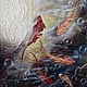 """Животные ручной работы. Ярмарка Мастеров - ручная работа. Купить Картина """"Золотые рыбки"""". Handmade. Золотой, красный, пруд, вода"""