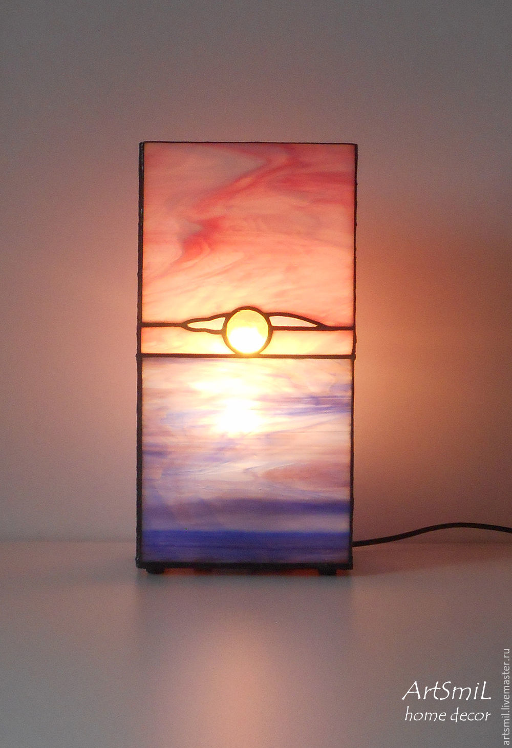 Lamp Dawn by the sea. Stained glass lamp. Decorative lamp, Ceiling and pendant lights, Moscow,  Фото №1