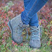 Обувь ручной работы. Ярмарка Мастеров - ручная работа Ботинки валяные Серые туманы. Handmade.