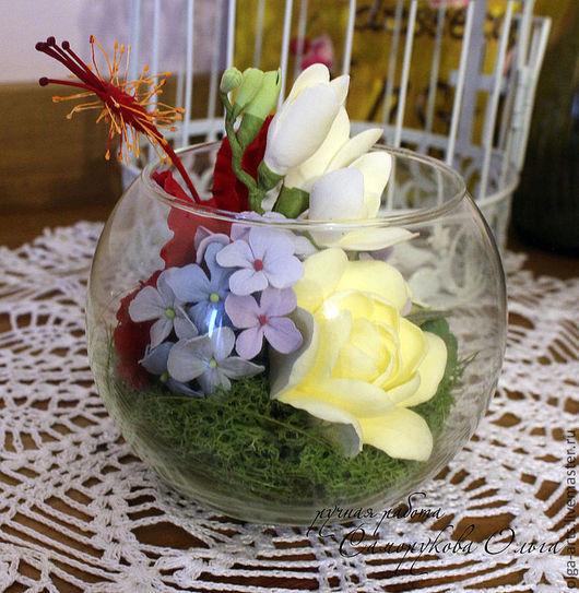 Букеты ручной работы. Ярмарка Мастеров - ручная работа. Купить Ваза-шар с цветами. Handmade. Цветы, букет цветов