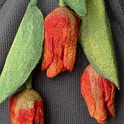 Украшения ручной работы. Ярмарка Мастеров - ручная работа брошь валяная тюльпан. Handmade.