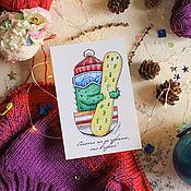 Открытки ручной работы. Ярмарка Мастеров - ручная работа Кактус сноубордист - почтовая открытка. Handmade.