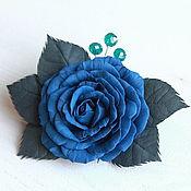 """Украшения ручной работы. Ярмарка Мастеров - ручная работа Брошь-заколка """"Синяя роза"""" из фоамирана. Handmade."""