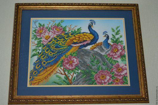 Животные ручной работы. Ярмарка Мастеров - ручная работа. Купить Картина бисером  (Павлин). Handmade. Павлин, бисер, птица, багет