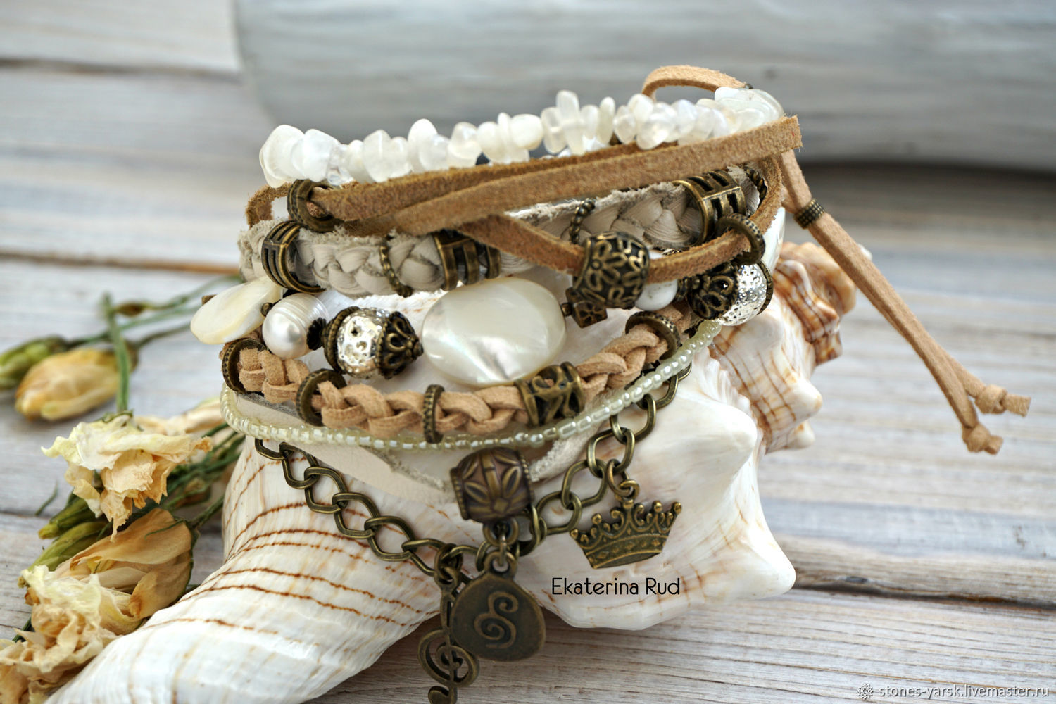 Boho-chic bracelet with moonstone and 'Moonlight' skin', Bead bracelet, Moscow,  Фото №1