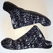 Обувь ручной работы. Ярмарка Мастеров - ручная работа Тапочки-чуни вязаные  Бело-черные. Handmade.