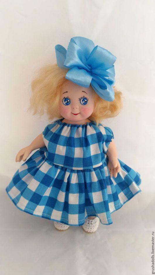 Коллекционные куклы ручной работы. Ярмарка Мастеров - ручная работа. Купить Гугли Мила. Handmade. Синий, вязание спицами, хлопок