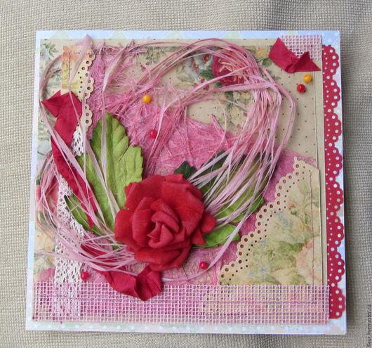 """Открытки для женщин, ручной работы. Ярмарка Мастеров - ручная работа. Купить """"Розовый рассвет"""". Handmade. Коралловый, розовый, сизаль"""