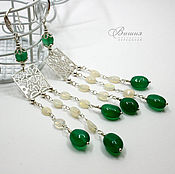 Украшения handmade. Livemaster - original item Earrings silver. Green Onyx, Ethiopian Opal. Handmade.