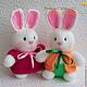 """Игрушки животные, ручной работы. Заказать """"Кролики. Счастливое семейство."""" Вязаные игрушки. Светлана Забелина вязаные игрушки. Ярмарка Мастеров."""