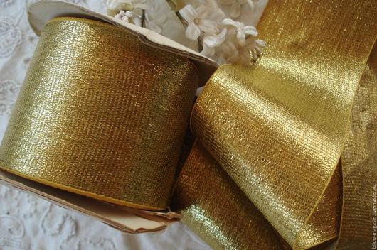 Вышивка ручной работы. Ярмарка Мастеров - ручная работа. Купить Винтажная металлизированная лента, цвет золотистый, цена за 9 см.. Handmade.