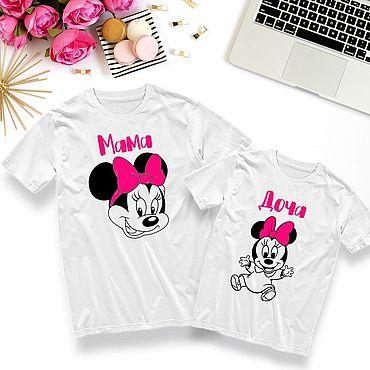 Одежда ручной работы. Ярмарка Мастеров - ручная работа Парные футболки для мамы и дочки на заказ. Handmade.