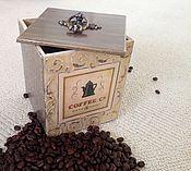 """Для дома и интерьера ручной работы. Ярмарка Мастеров - ручная работа Короб для хранения кофе в зёрнах """"COFFEE"""". Handmade."""
