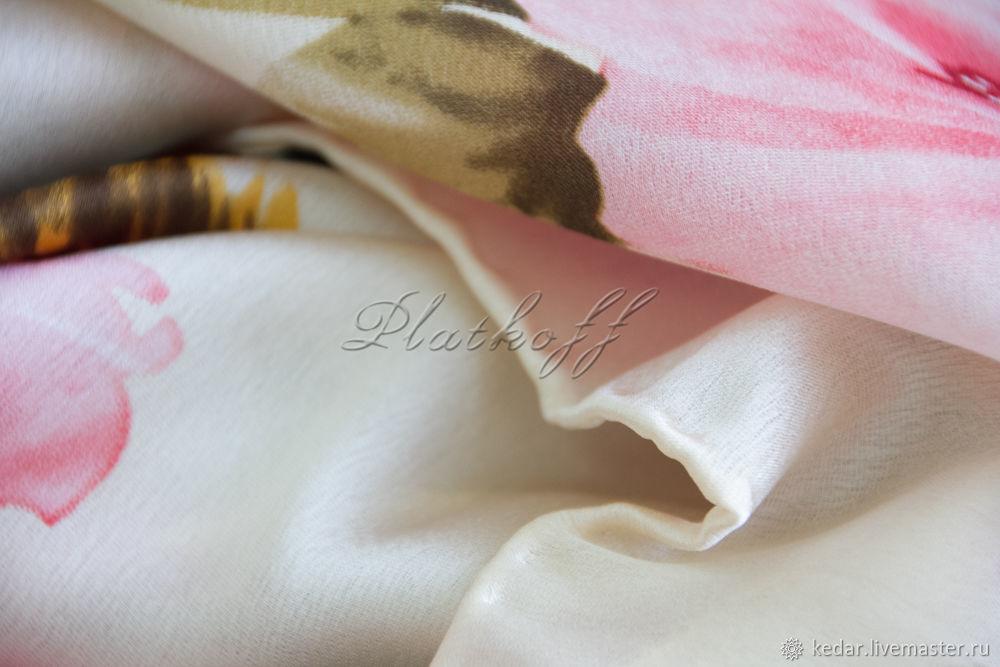 """Шёлковый платок из ткани dior """"Белка в розах"""", Платки, Москва,  Фото №1"""
