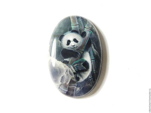 Роспись по камню ручной работы. Ярмарка Мастеров - ручная работа. Купить Панда на офите. Handmade. Тёмно-зелёный, зелень, офит