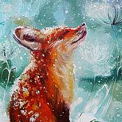 Картины и панно handmade. Livemaster - original item Snow and red oil painting. Handmade.