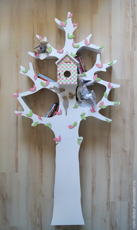 Детская ручной работы. Ярмарка Мастеров - ручная работа. Купить Белое дерево-стеллаж для детской комнаты 4. Handmade. Белый
