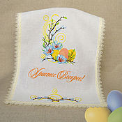 Подарки к праздникам handmade. Livemaster - original item Easter napkin. embroidered cloth. Handmade.