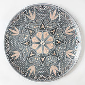 Посуда ручной работы. Ярмарка Мастеров - ручная работа Тонкое серебристое кружево. Декоративная тарелка.. Handmade.