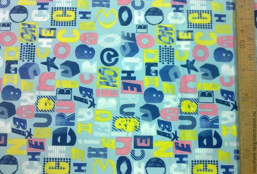 Ткань курточная 240T PONGEE WR PU MILKY. Рисунок `Алфавит голубой`